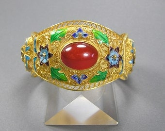 Chinese Export Bracelet, Vermeil Filigree Enamel, Carnelian Cabochon, Vintage Chinese Jewelry