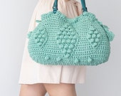 Handbag Tote Leather Bag Mint Bag Tote Boho Bag Women Bag Leather Tote  Fashion Women Accessory Handmade Bag Summer Bag Crochet Bag