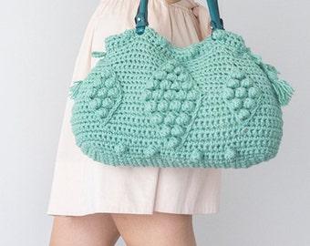 Handbag Tote Leather Bag Mint Bag Tote Boho Bag Women Bag Leather Tote  Fashion Women Accessory Handmade Bag Summer Bag Crochet Bag