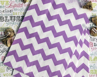 Party Favor Bags, Purple Chevron Favor Bags, Purple Wedding Favor Bags, Wedding Candy Bags, Popcorn Bags, Gift Bags, Treat Bags - 100 Ct.