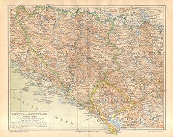 1888 Original Antique Dated Map of Bosnia and Montenegro