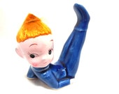 Red Hair PIXIE figurine Vintage 50s Soft hair blue jumper Korea Collectible Sweet Mischevious Grin Mom Great Gift