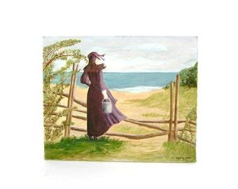 Original Oil Painting Cape Cod Coastal Seascape Vintage Nautical Decor Beach Art Woman at Seashore