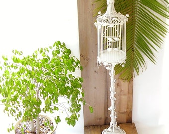 Antique Italian Tole Bird Cage Vintage Metal Birdcage Cottage chic White Rosebud Birdcage with Stand