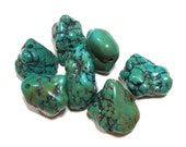 Chunky Green Turquoise Beads - gemstone Nugget Stone Pendant 7 seven pieces