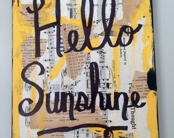 Music art book painting Hello sunshine sun music wall art quote - original mixed media collage PRINT