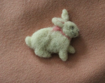 white needle felted bunny  applique