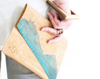 Monogrammed Dip-Dyed Cork Clutch Purse - Handmade OOAK Blue Dip-Dyed Vegan Eco-Friendly Womens Clutch