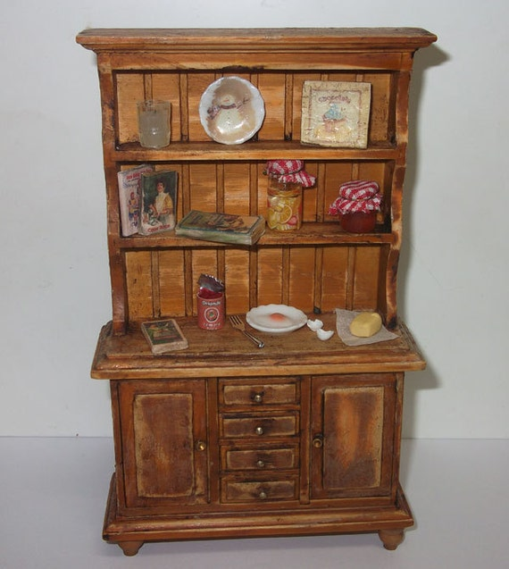Dollhouse Miniature Rustic Kitchen Hutch Scale 1/12