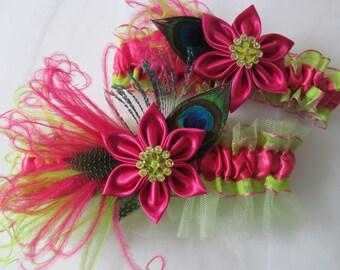 Hot Pink & Lime WEDDING Garter Set, Peacock Garters, Lime Green and Pink Bridal Garters with Kanzashi Flower, Prom Garters