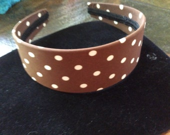 Brown with white dots cloth covered headband handmade