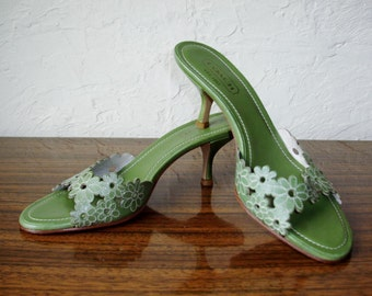 COACH Italy Green Leather Kitten Heels Sandals Slides Sz 8 B Excellent