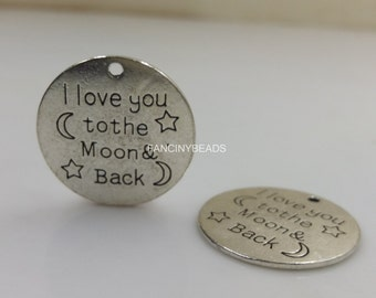 Wholesale-I love you to the moon and back-circle charms 50 pcs-F1448