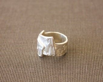 Sterling silver ring - made to order ring - Rustic silver texture ring