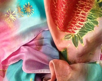 "Handpainted Springtime Shawl/Scarf by The Silk Maid ""Gumnut Blossoms"" Original Silk Design"