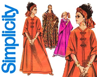 1960s Caftan Pattern Simplicity 8354 Easy to Sew Pullover Tent Dress Maxi Robe Lounging House Coat Hippie Boho Womens Vintage Sewing Pattern