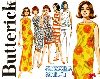 1960s Dress Pattern Bust 34 Uncut Butterick 2920 Pullover Tops Tunic Beach Shift Dress Maxi Dress Day Evening Womens Vintage Sewing Patterns