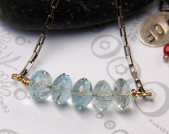 Aquamarine Bar Necklace, Sterling Silver Venetian Box Link Bar Necklace, March Birthstone Aquamarine Bar Necklace