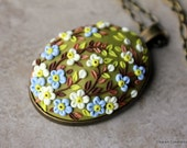 Polymer Clay Applique Floral Pendant Necklace in Olive and White