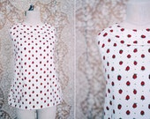RESERVED / vintage 1960's strawberry print swing top with rounded collar / size m - l