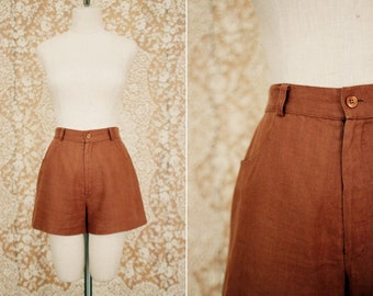 vintage 1990's carmel brown linen high waisted shorts / size s