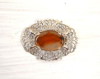 Carnelian Filigree Brooch 50s Silver Tone Orange Gemstone Brooch Vintage Costume Jewelry Pin