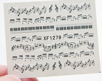 One Sheet of Music Note Nail Stickers / Nail Art  (1279//M512)