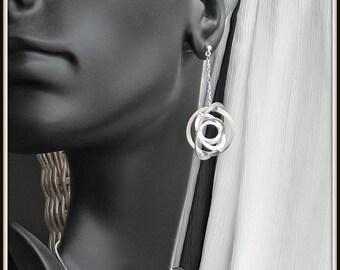 Illusion - Sphere Multi D  Decoupage OOAK Sterling silver earrings for woman