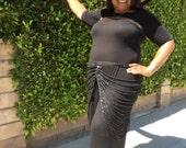 Art Deco Sparkle Skirt in Black on Black