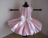 Dog Dress XS White and Pink  Stripes By Nina's Couture Closet