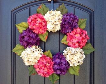 Hydrangea Wreath Spring Wreath Summer Wreath Grapevine Door Wreath Pink Purple Cream Hydrangea Floral Door Decoration Indoor Outdoor Decor