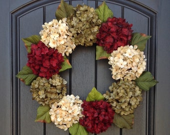Christmas Wreath Summer Wreath Fall Wreath Holiday Wreath Grapevine Door Wreath Decor Red Green Cream Hydrangea