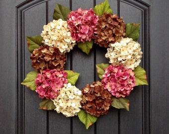 Spring Wreath Summer Wreath Grapevine Door Wreath Decor Mauve Brown Cream Hydrangea Floral Door Decoration Indoor/Outdoor Decoration
