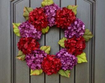 Hydrangea Wreath Spring Wreath Summer Wreath Grapevine Door Wreath Red Purple Hydrangea Floral Door Decoration Indoor Outdoor