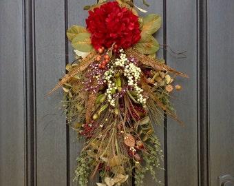 Fall Wreath-Autumn Wreath-Holiday-Fall Teardrop Wreath- Vertical Door Swag-Fall Decor-Use Year Round Indoor Outdoor Swag