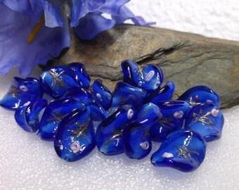 20 Sapphire Blue Wave Lampwork Beads