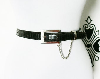 "Vintage 80s Skinny Belt Chain Buckle Brown Black Faux Croc Gator S M L 26-32"""