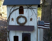 Primitive Lighted Americana Farmhouse w/ hand painted flag  ~  Comes w/ light and cord ~ Birdhouse ~  Very unique!