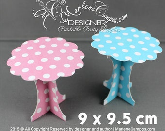Cupcake Stand - Printable, Paper cupcake stand, mini dessert stand, Polka dot stand, Cupcake Pedestals - Printable   INSTANT DOWNLOAD