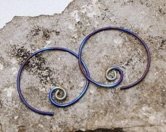 Titanium Hoops - torch coloured titanium spiral hoops - primitive finish - hypo allergenic hoops - rustic hoops - one of a kind hoops