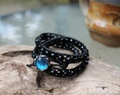 Black Crystal Brown Leather Triple Wrap Bracelet with Real Blue Butterfly Button