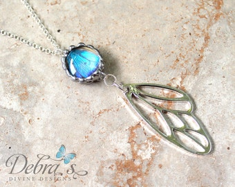 Real Butterfly Silver Wing Pendant, Blue Morpho, Real Butterfly