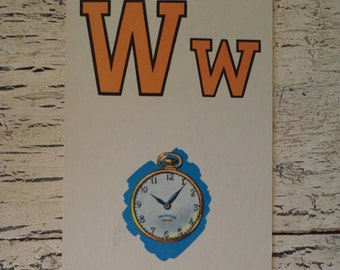 Alphabet Flash Card - Letter  W is for  Watch 1950s Illustrated School Flash Card
