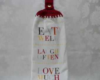 Hanging Double Kitchen Towel Eat Well Laugh Often Love Much Towel Crochet Top Towel Hanging Kitchen Towel