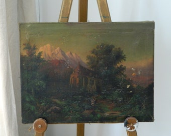 Antique Oil Painting / Dawn Landscape / Scenic / home decor / shabby cottage