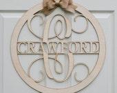 Custom listing for Maddie Circle Vine Script Wooden Monogram - Unpainted Monogram - Door Hanger - DIY - Wedding - Guest Book - Wooden Letter
