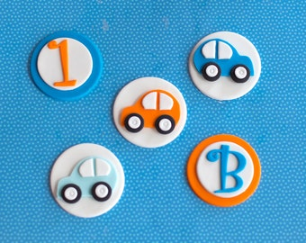Fondant Car, Age and Initial Toppers for Birthday Cupcakes, Cookies or Cakes