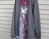 RESERVED Laura K...Recycled Women's Gray Fuchsia MEDIUM LARGE Artsy Lagenlook Boho Indie Hippie Hoodie Jacket