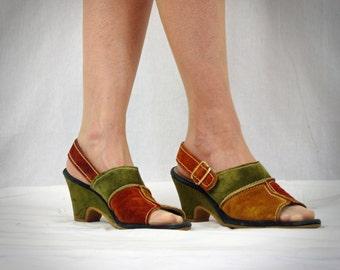 60s Sandals * Color Block Wedge Sandals * Suede Sandals * Olive and Rust Sandals * SlingBack Sandals * Open Toe Sandals * Penaljo