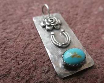 Horseshoe Turquoise Flower Sterling Silver Pendant Cowgirl Equestrian Necklace